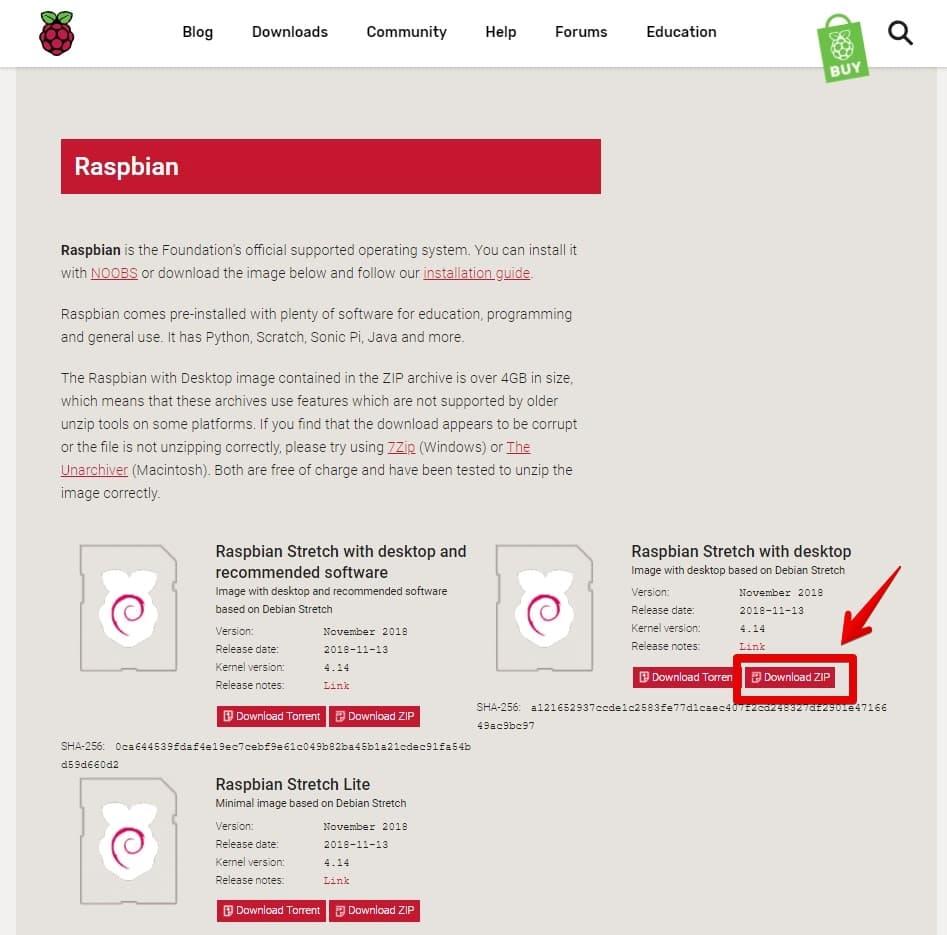 Raspbianのイメージを選択 & ダウンロード