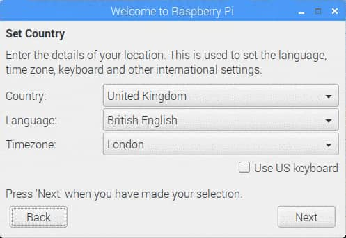 Raspberry pi 利用している場所(国)を選択